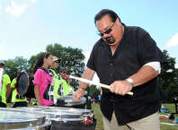 Greenwich resident, Bob Vitti, gives insturction during marching band camp at Crawford Park, Rye Brook, N.Y., Thursday afternoon, Aug. 28, 2014. Vitti, a musician and drumline teacher, is set to be inducted this weekend into the World Drum Corps Hall of Fame in Rochester, N.Y. Vitti first began playing drums with the Greenwich Boys & Girls Club in 1960.