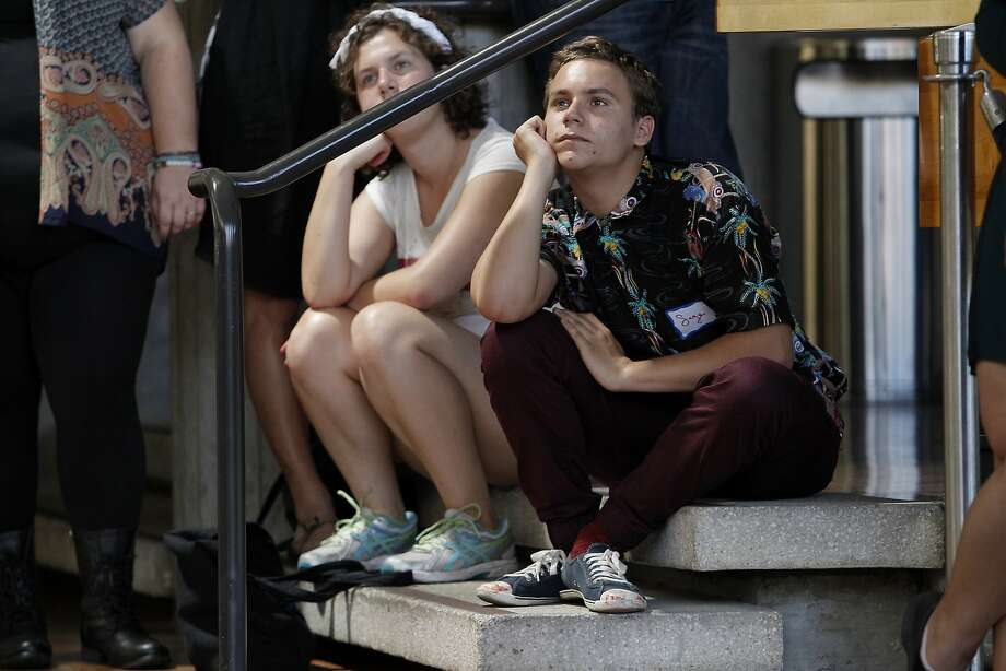 Sage Ryan, who just turned 15, listens to speakers during an orientation last week for theater students at UC Berkeley. Photo: Michael Short, The Chronicle