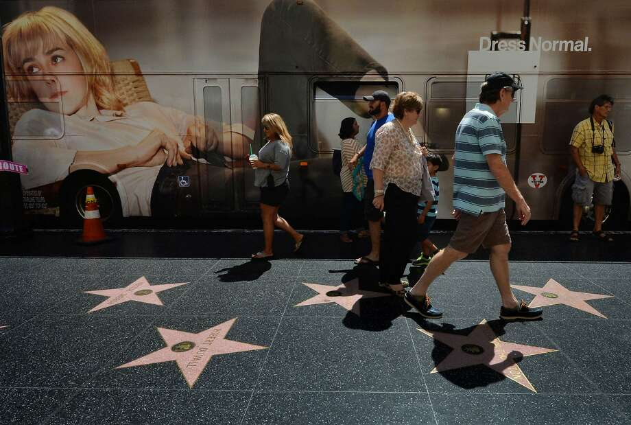 Celebrities' stars are displayed in Hollywood. A number of nude photos were posted online. Photo: Mark Ralston, AFP/Getty Images