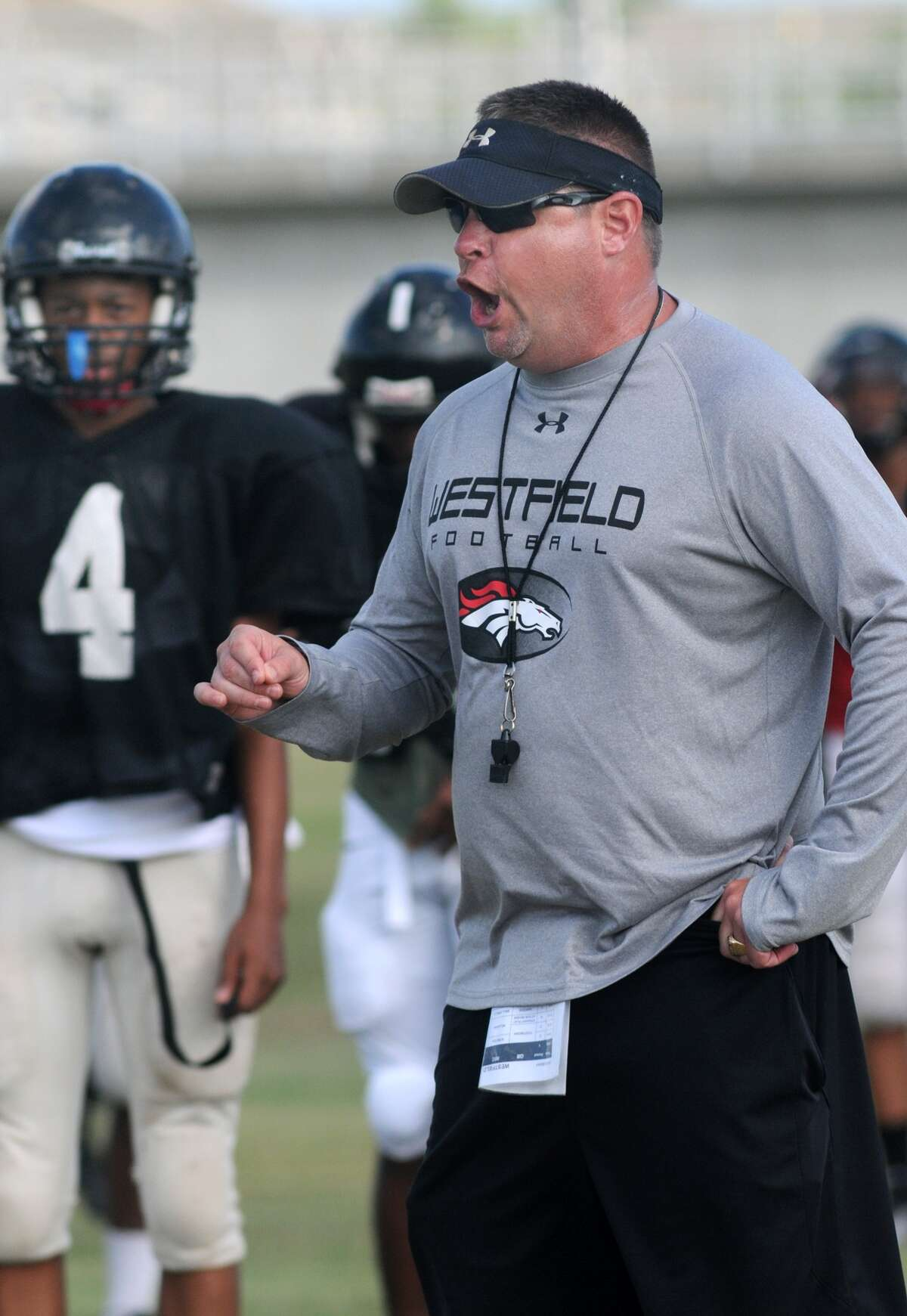 Westfield head coach Corby Meekins makes a point during practice.