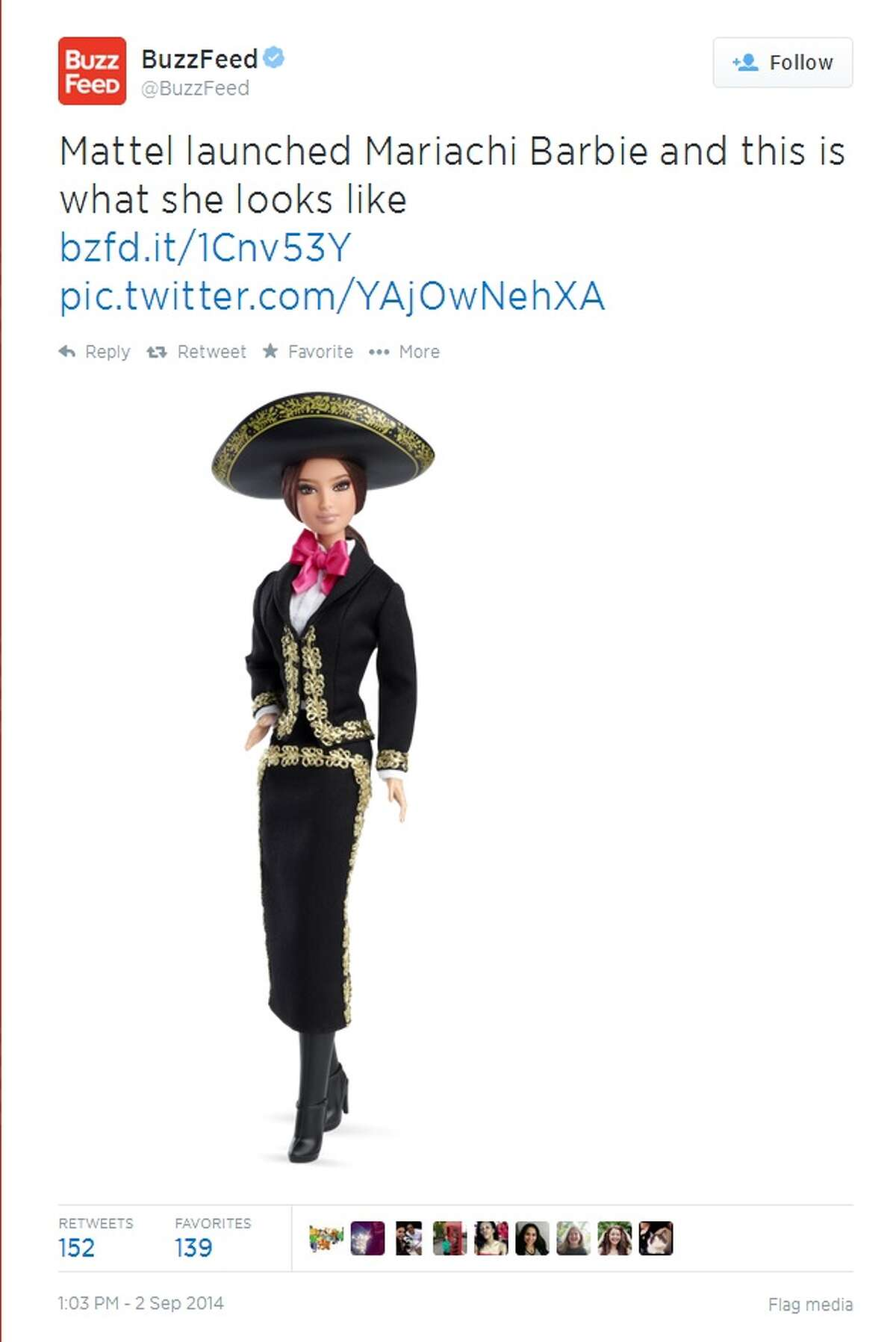 Mariachi Barbie makes her debut in time for Mexican Independence Day and National Hispanic Heritage Month, which begins Sept. 15 and runs to Oct. 15.