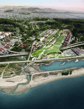 """A rendering's aerial view shows the winning """"Presidio Point"""" vision from James Corner's Field Operations."""