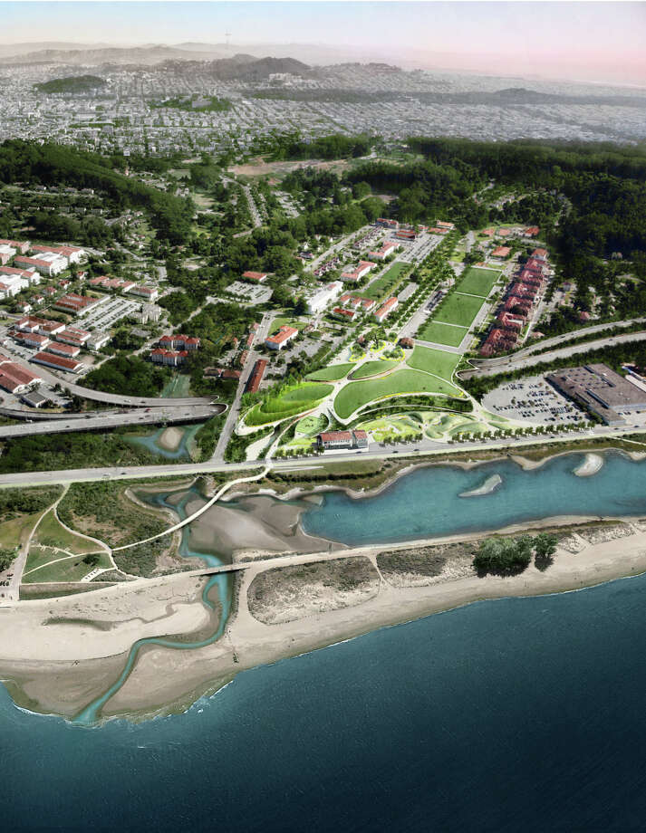 """A rendering's aerial view shows the winning """"Presidio Point"""" vision from James Corner's Field Operations. Photo: James Corner Field Operations / James Corner Field Operations / ONLINE_YES"""