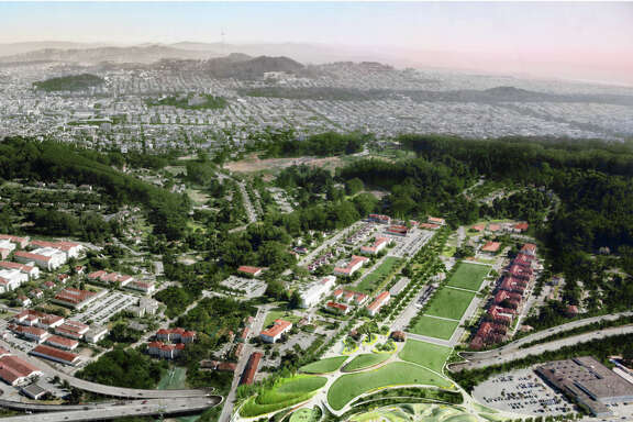 "A rendering's aerial view shows the winning ""Presidio Point"" vision from James Corner's Field Operations."