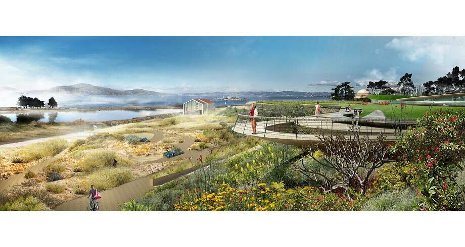 "James Corner Field Operations led the design team for ""Presidio Point,"" one of five conceptual visions submitted to the Presidio Trust for that will be draped between the Crissy Field and the Main Post of the Presidio. This image is a view of the west outlook, one of three along what's called the ""cliff walk."" Photo: James Corner Field Operations"
