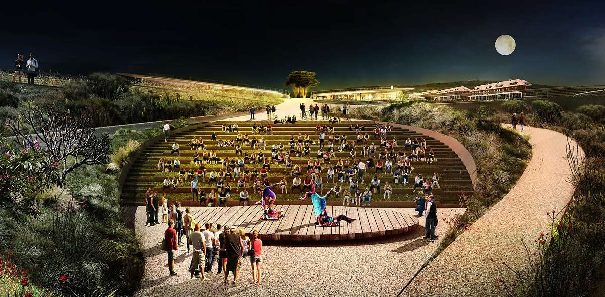 """James Corner Field Operations led the design team for """"Presidio Point,"""" one of five conceptual visions submitted to the Presidio Trust for that will be draped between the Crissy Field and the Main Post of the Presidio. This image show an amphitheater tucked against one of the new bluffs."""