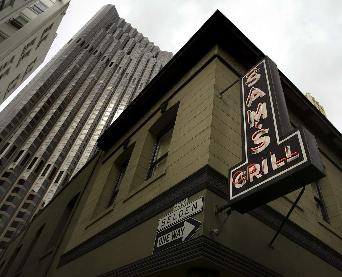 Sam's Grill at 374 Bush is among the Chronicle's 100 Best Restaurants. It's at Bush and Belden, near the Bank of America Building.