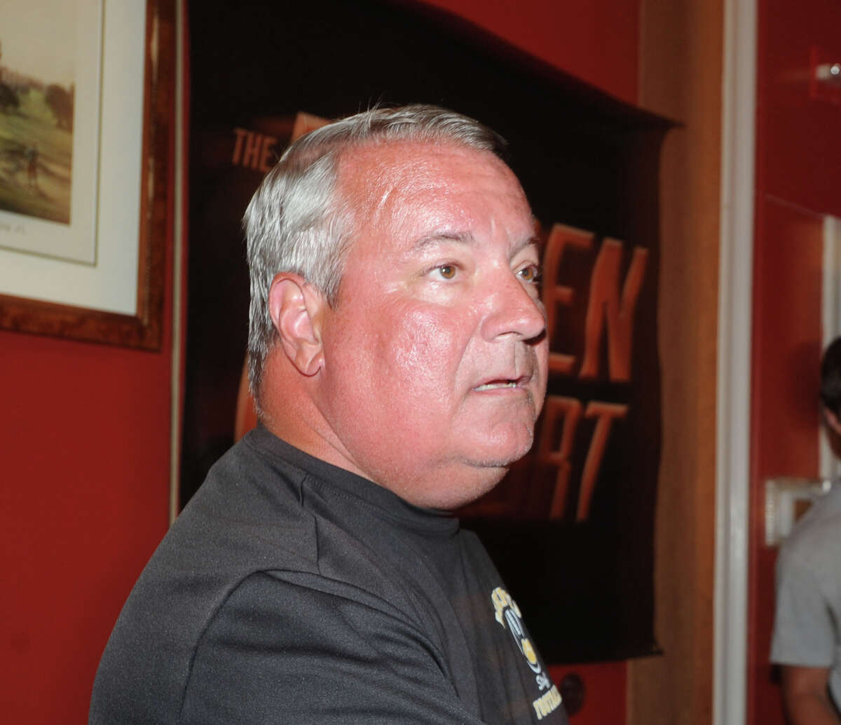 Ridgefield High School head football coach Kevin Callahan during FCIAC Football Media Night at Zody's 19th Hole Restaurant in Stamford, Conn., Tuesday, Sept. 2, 2014.