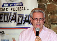 Sports reporter Armen Keteyian gave the keynote address during the FCIAC Football Media Night at Zody's 19th Hole Restaurant in Stamford, Conn., Tuesday, Sept. 2, 2014.