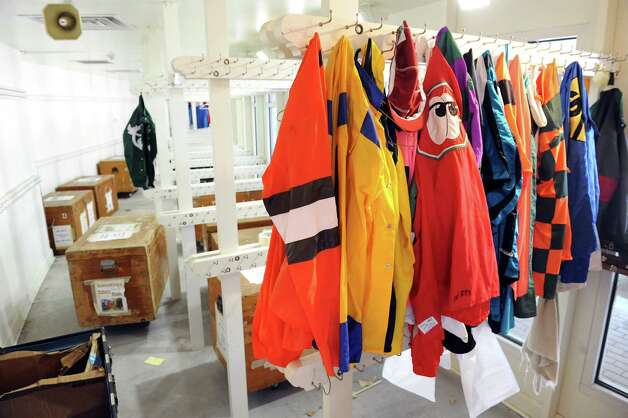 The silks room is nearly empty on the final day of thoroughbred races on Monday, Sept. 1, 2014, at Saratoga Race Course in Saratoga Springs, N.Y. (Cindy Schultz / Times Union) Photo: Cindy Schultz / 00028394A