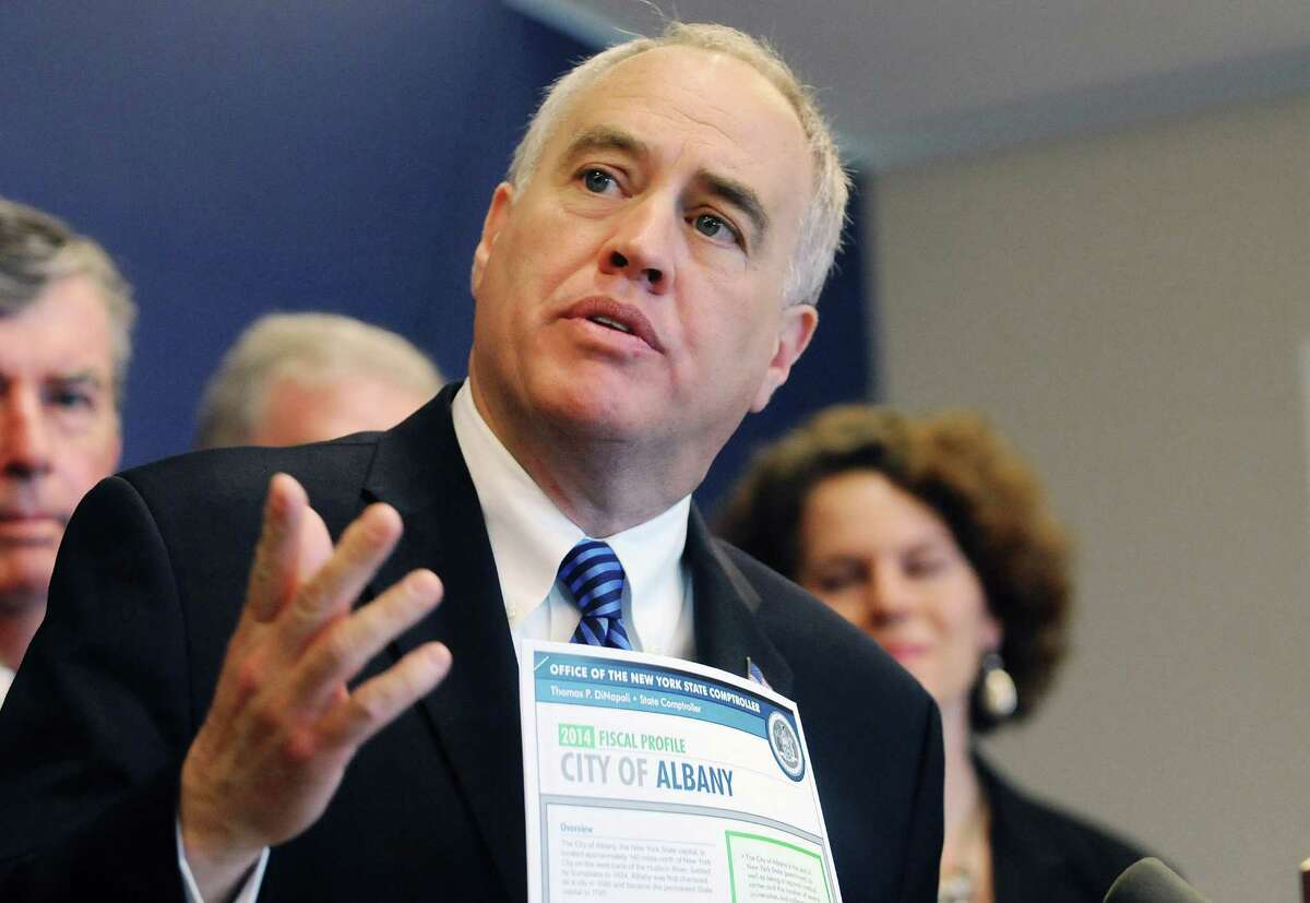 New York State Comptroller Thomas DiNapoli talks about the fiscal issues facing the city of Albany during a press conference at the State Comptroller's office on Tuesday, June 3, 2014, in Albany, N.Y. (Paul Buckowski / Times Union)
