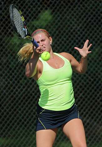 Annie Phillips of Niskayuna practices with her team at the Central Park tennis courts on Tuesday, Aug. 26, 2014 in Schenectady, N.Y.  (Lori Van Buren / Times Union) Photo: Lori Van Buren / 00028314A