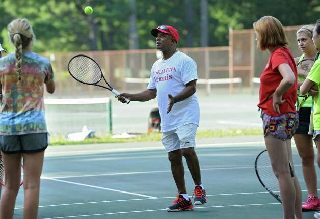 Niskayuna tennis coach Jim Neal talks to his players during practice at the Central Park tennis courts on Tuesday, Aug. 26, 2014 in Schenectady, N.Y.  (Lori Van Buren / Times Union) Photo: Lori Van Buren / 00028314A