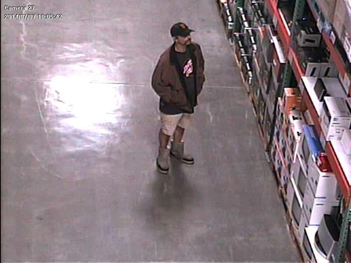"""Santa Cruz police are asking the public for help in identifying a shoplifter who officers have nicknamed """"El Mustachio the Magician"""" for his mustache and ability to make electronics """"disappear"""" from a Costco in Santa Cruz. Surveillance video caught this image of him during his first heist, July 7."""