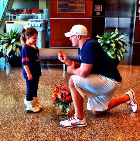 "Aside from his play on the field, J.J. Watt has endeared himself to Texans fans with moves like his ""proposal"" to 6-year-old Breanna Bartay. Photo: Photo Courtesy Of J.J. Watt"