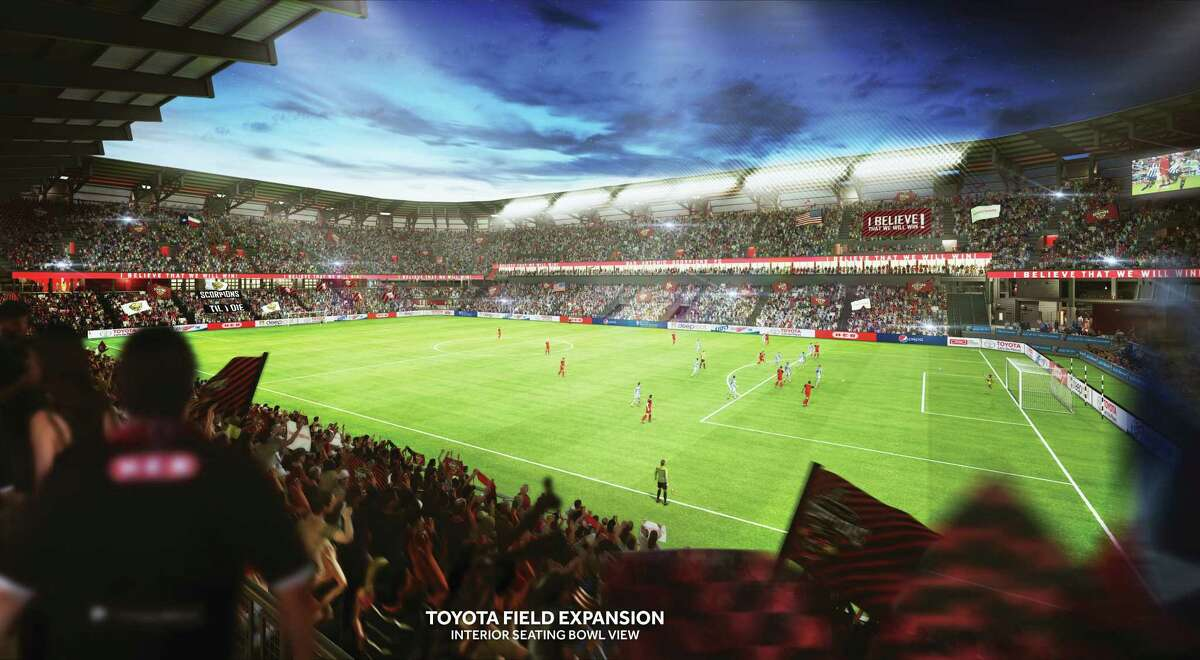 Shown is a view from an interior seating bowl of the proposed Toyota Field expansion, estimated to cost $38 million to $45 million for the addition of 10,000 seats to the existing 8,000.