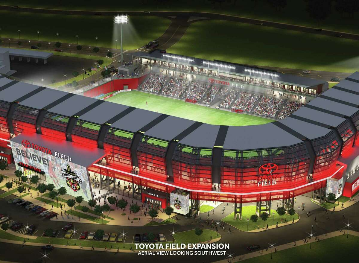 An aerial view shows what the proposed Toyota Field expansion would look like. The plan includes, among other features, a façade common at soccer venues in Europe.