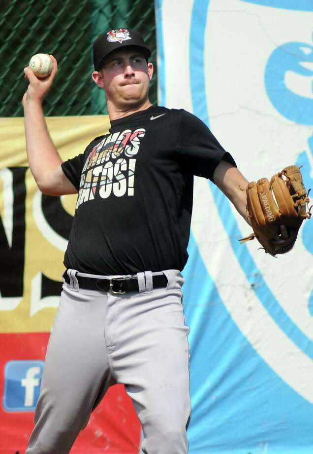 ValleyCats' pitcher Chris Munnelly throws from the outfield during practice on Tuesday, Sept. 2, 2014, at Bruno Stadium in Troy, N.Y. (Cindy Schultz / Times Union) Photo: Cindy Schultz / 00028413A
