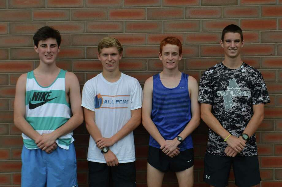 Darien boys cross country captains pose before a preseason practice at Darien High School in August. From left, Brendan Triano, Armstrong Noonan, Alex Ostberg and Arthur Cassidy. Photo: Contributed / Darien News Contributed