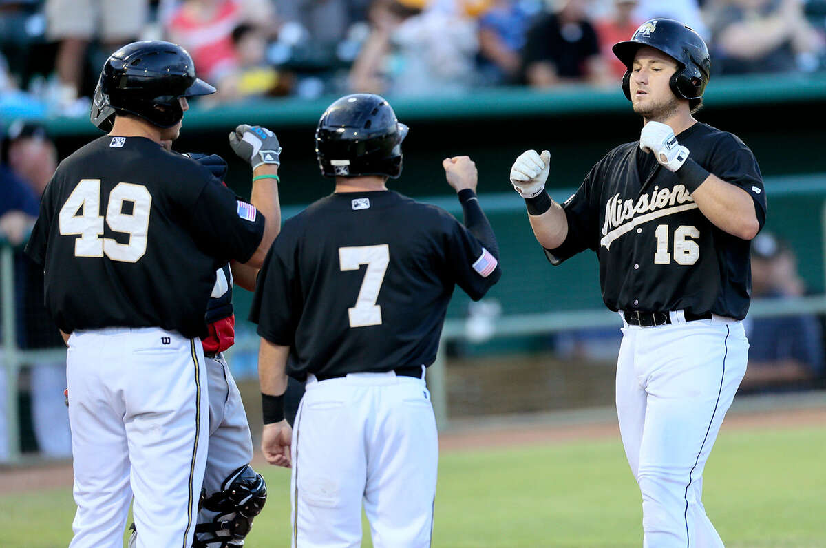 Hunter Renfroe (from left), Casey McElroy, Jason Hagerty and the Missions led all of minor-league baseball by playing in 25 extra-inning games but lost 18 of them.