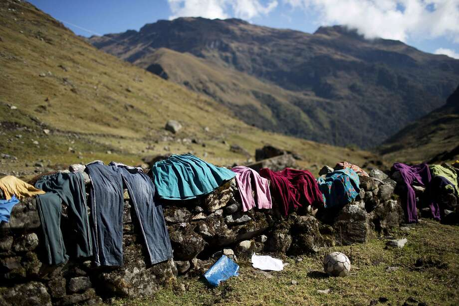 Laundry day in Chupon, a village in the Peruvian Andes. This is the family dryer. Photo: Rodrigo Abd, Associated Press