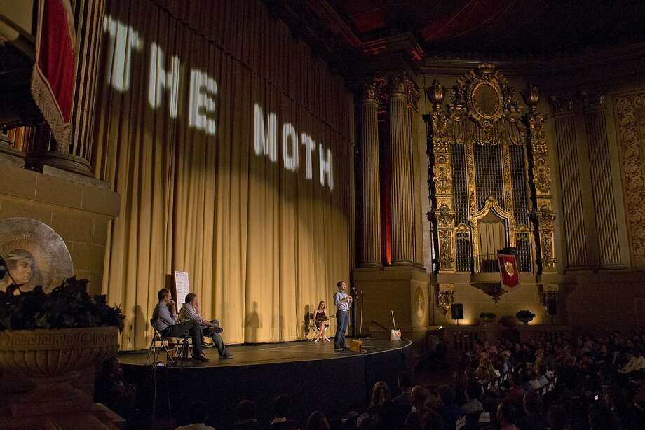 Aseem Shukla tells a story about his parents trying marijuana during the Moth's GrandSLAM at the Castro Theatre in S.F. Photo: Carlos Avila Gonzalez, The Chronicle