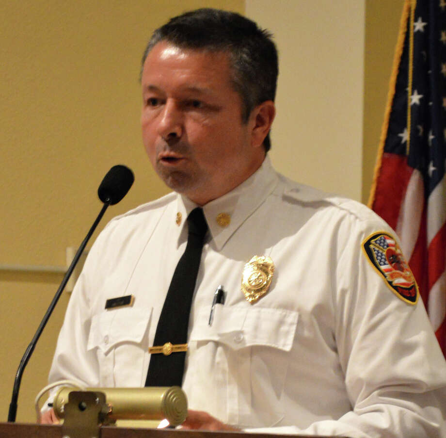 Fire Chief Andrew Kingsbury addresses the Representative Town Meeting in support of an inter-local agreement with New Canaan to combine fire dispatch services. Photo: Jarret Liotta / Westport News