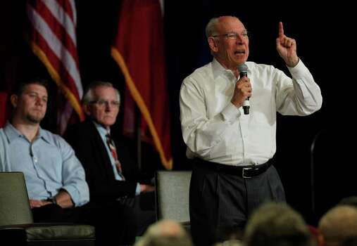 """At a Sept. 12, 2012 Tea Party meeting in North Texas, the Rev. Rafael Cruz stirred up theories — long disproved — that President Barack Obama was not born in the United States, according to The Daily Beast.""""We have our work cut out for us,"""" he said. """"We need to send Barack Obama back to Chicago. I'd like to send him back to Kenya, back to Indonesia."""" He went on to say, """"We have to unmask this man. This is a man that seeks to destroy all concept of God. And I will tell you what, this is classical Marxist philosophy. Karl Marx very clearly said Marxism requires that we destroy God because government must become God.""""Rafael Cruz, at the Hilton Anatole Hotel in Dallas, Texas on August 20, 2013. He was there to discuss the push to remove funding for federal health care law, also called Obamacare. (Michael Ainsworth/The Dallas Morning News) Photo: Michael Ainsworth, File Photo / 00018676A"""