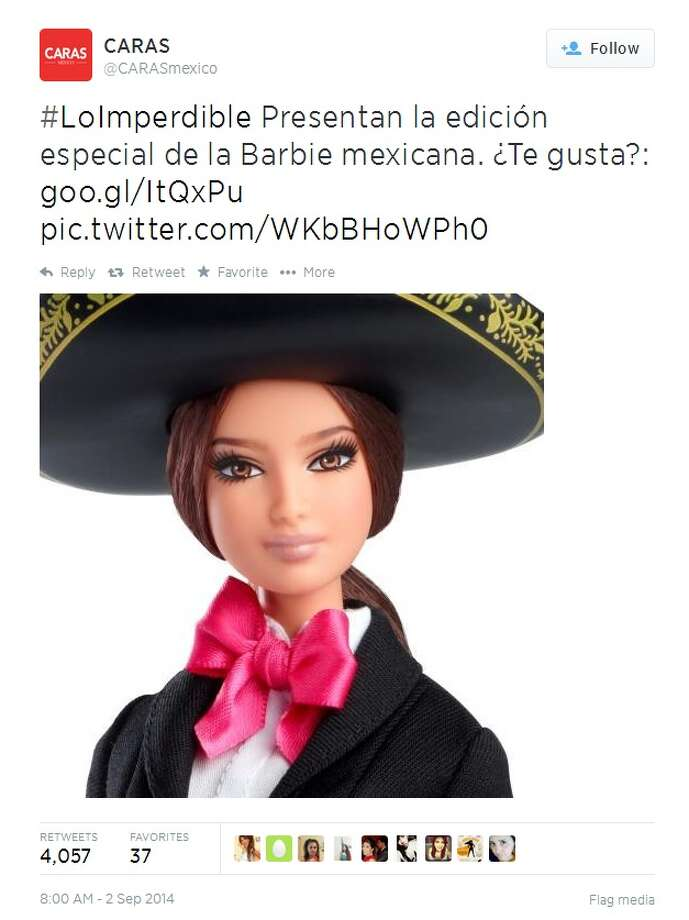 Mariachi Barbie makes her debut in time for Mexican Independence Day and National Hispanic Heritage Month, which begins Sept. 15 and runs to Oct. 15. Photo: Twitter