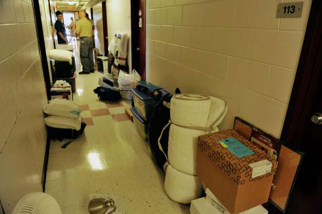 The hallway of a dorm is filled with items as freshmen students moved in to their campus housing on Thursday, Aug. 28, 2014, in Loudonville, N.Y.    (Paul Buckowski / Times Union) Photo: Paul Buckowski, Albany Times Union / 00028227A
