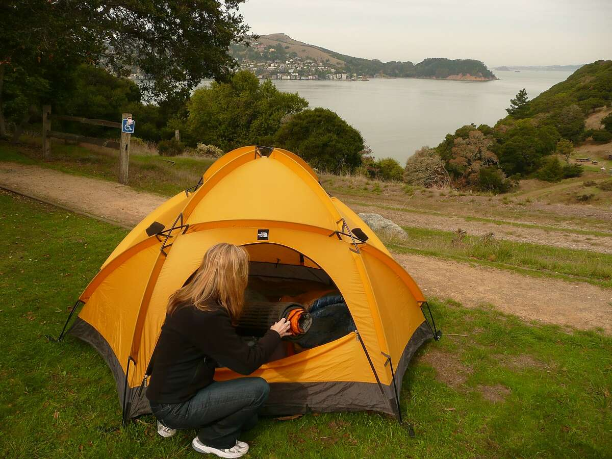 The wheelchair-accessible campsite has views toward Tiburon and the East Bay.