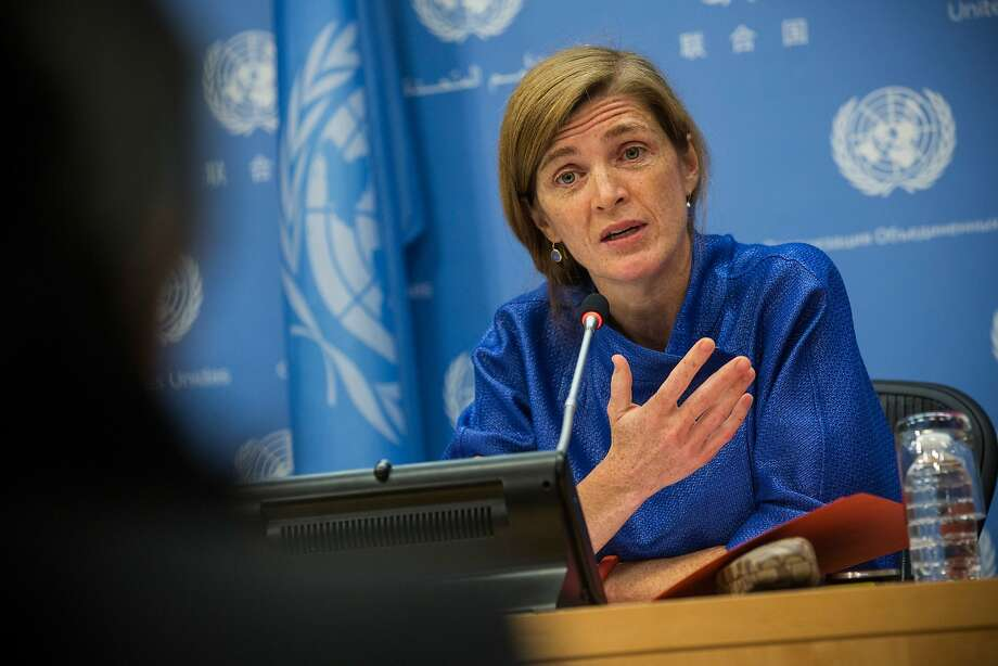 U.S. Ambassador to the U.N. Samantha Power answers questions on the Islamic State group. Photo: Andrew Burton, Getty Images