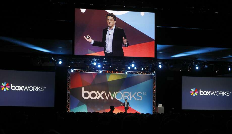 Box CEO Aaron Levie speaks at the conference, where he outlined the potential for innovation in technology and business. Below: Although the potential excites him, it didn't knock his cloud socks off. Photo: Paul Chinn, The Chronicle