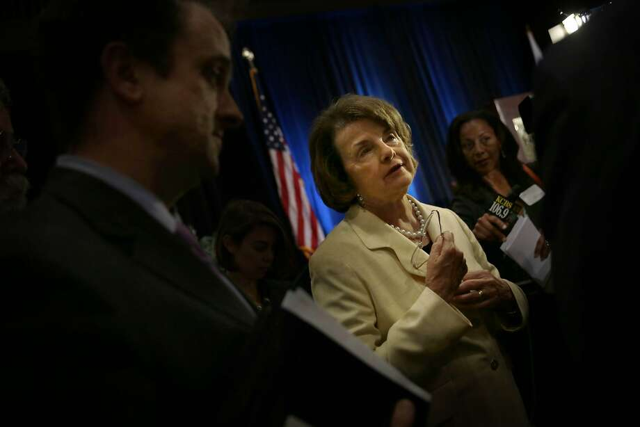 "Sen. Dianne Feinstein holds a ""fireside chat"" with Silicon Valley Leadership Group on cyber security and foreign affairs. Photo: Lea Suzuki, The Chronicle"