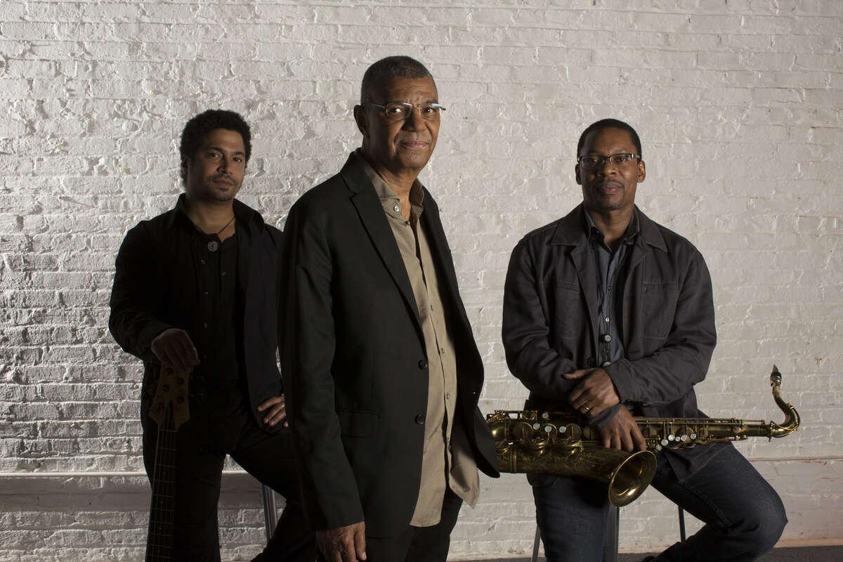 The Jack DeJohnette Trio, from left: Matt Garrison, DeJohnette and Ravi Coltrane