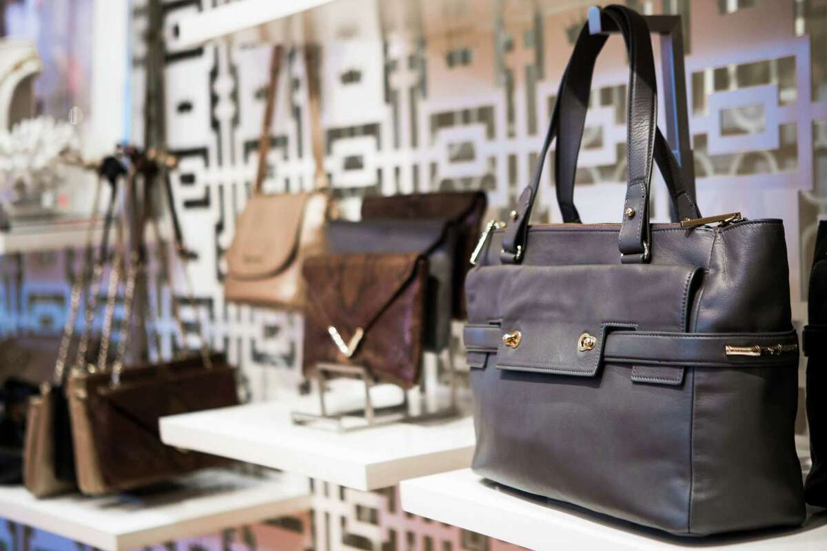 The Elaine Turner Ruth Cloudy Bay Gray Leather Tote goes for $578. Most of the Houston-based chain's handbags range in price from $195 to $395.