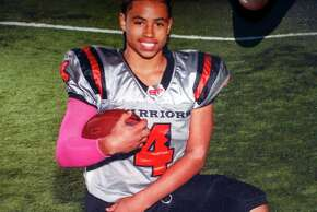 The most recent pop warner football photo of Rashawn Williams, a 14-year-old freshman at Sacred Heart Cathedral in San Francisco, who was fatally stabbed in the Mission District on Tuesday evening, in San Francisco, Calif., on Wednesday, September 3, 2014.