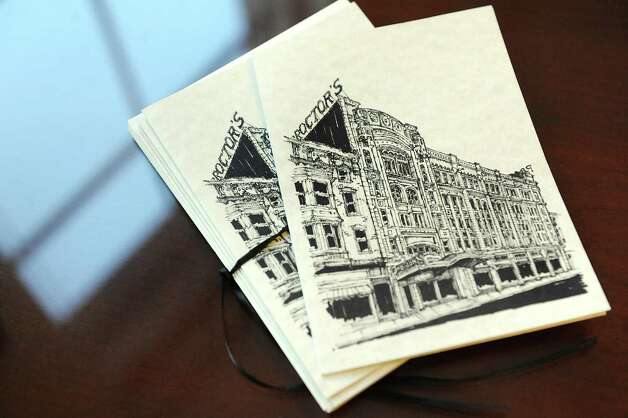 Notecards feature a drawing of the Proctor building by local artist Randy Rumpf on Wednesday, Sept. 3, 2014, at the Proctor Building in Troy, N.Y. (Cindy Schultz / Times Union) Photo: Cindy Schultz / 00028431A