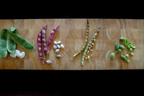 From left to right: Cannellini Beans, Cranberry Beans, Black Eyed Peas and Garbanzo Beans.