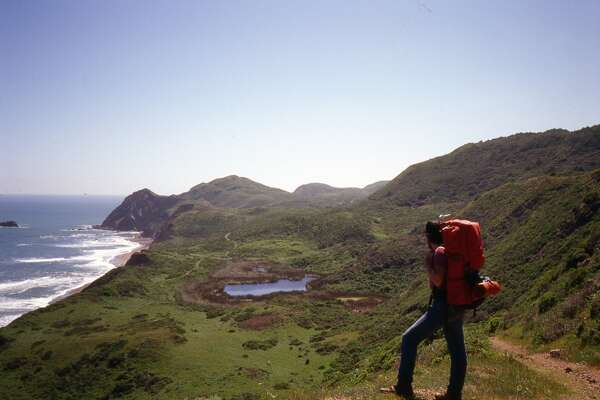 On Coast Trail out of Palomarin, Tom Stienstra gazes north toward Double Point