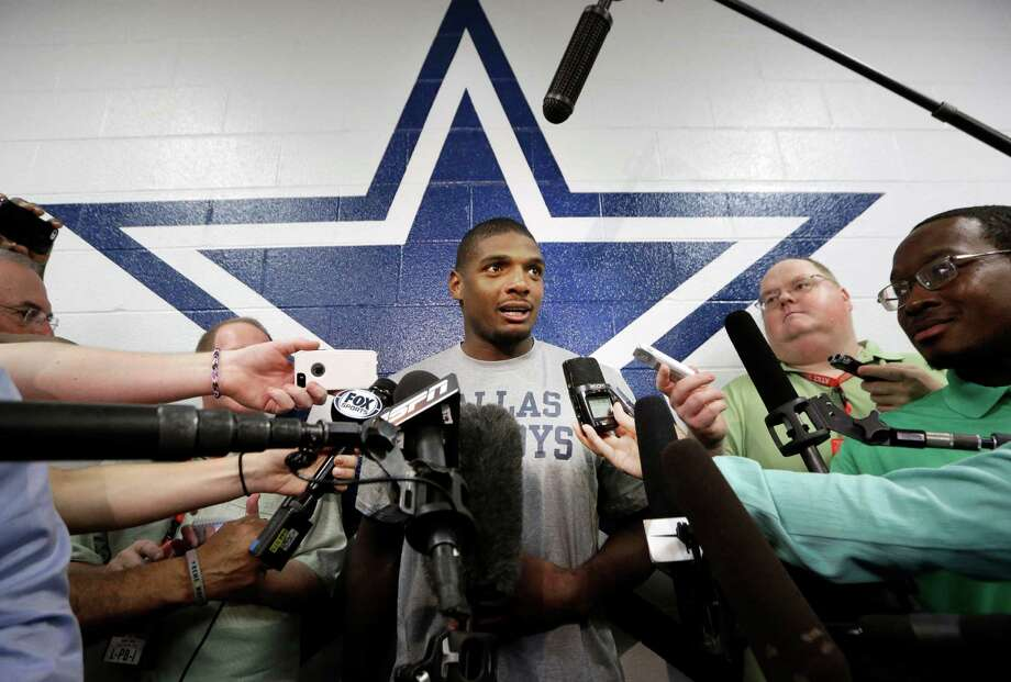 Dallas Cowboys practice squad player defensive end Michael Sam speaks to reporters after team practice at the team's headquarters Wednesday, Sept. 3, 2014, in Irving, Texas. (AP Photo/LM Otero) ORG XMIT: TXMO215 Photo: LM Otero / AP