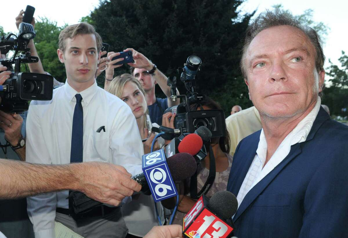 Celebrity David Cassidy talks about the status of his DWI plea at Town Court on Wednesday Sept. 3, 2014 in Schodack, N.Y. (Michael P. Farrell/Times Union)