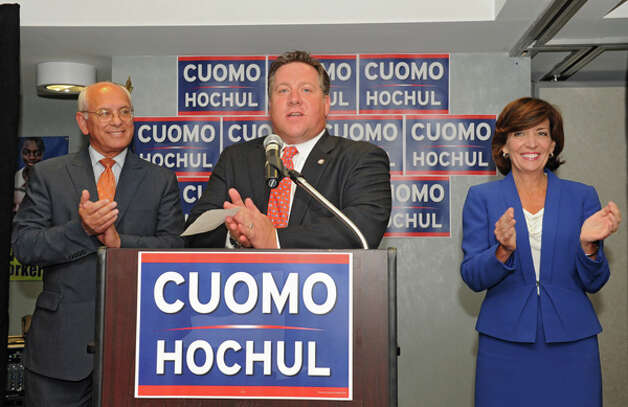 Albany County Executive Dan McCoy endorses Lt. Governor candidate Kathy Hochul, right, at a Capital Region democratic rally for the Cuomo/Hochul ticket on Wednesday, Sept. 3, 2014 in Albany, N.Y. Congressman Paul Tonko, left, also spoke. (Lori Van Buren / Times Union) Photo: Lori Van Buren, Albany Times Union / 00028453A