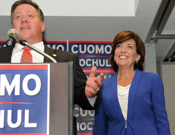 Albany County Executive Dan McCoy endorses Lt. Governor candidate Kathy Hochul, right, at a Capital Region democratic rally for the Cuomo/Hochul ticket on Wednesday, Sept. 3, 2014 in Albany, N.Y.  (Lori Van Buren / Times Union) Photo: Lori Van Buren, Albany Times Union / 00028453A