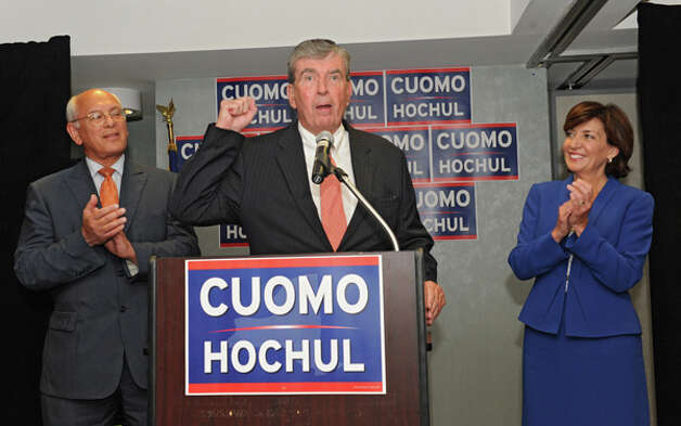 Senator Neil Breslin endorses Lt. Governor candidate Kathy Hochul at a Capital Region democratic rally for the Cuomo/Hochul ticket on Wednesday, Sept. 3, 2014 in Albany, N.Y. Paul Tonko, at left, also spoke. (Lori Van Buren / Times Union) Photo: Lori Van Buren, Albany Times Union / 00028453A