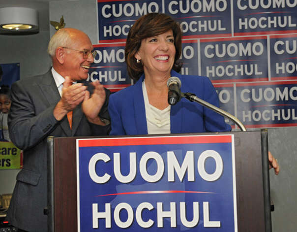 Lt. Governor candidate Kathy Hochul speaks at a Capital Region democratic rally for the Cuomo/Hochul ticket on Wednesday, Sept. 3, 2014 in Albany, N.Y.  Congressman Paul Tonko, at left, introduced her. (Lori Van Buren / Times Union) Photo: Lori Van Buren, Albany Times Union / 00028453A