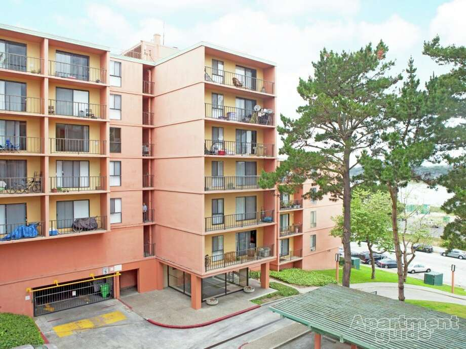 This retro pink tower could house students and faculty of near by colleges, SFSU and Skyline-- if they can afford it. Photos on Apartment Guide.com