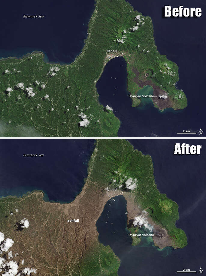 """BEFORE & AFTER - NASA satellite images capture the affects of a volcanic eruption Aug. 29, 2014 on German New Guinea. According to NASA, the eruption """"sent lava shooting hundreds of meters into the air and created a plume of gas and ash that billowed as high as 18,000 meters,"""" and covered much of the area with a layer of volcanic ash. 