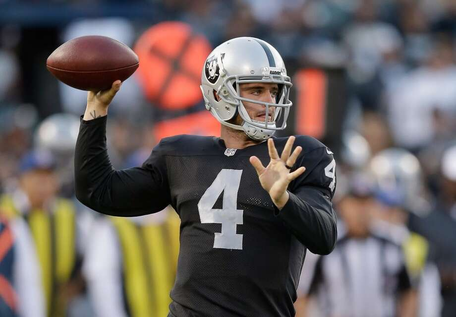 Week 2, Sept. 14, 3:25 p.m., CBS  at Raiders  Rookie Derek Carr replaces Matt Schaub and is besieged by the Texans' smothering pass rush.  Prediction: Texans 19, Raiders 13   Photo: Ezra Shaw, Getty Images