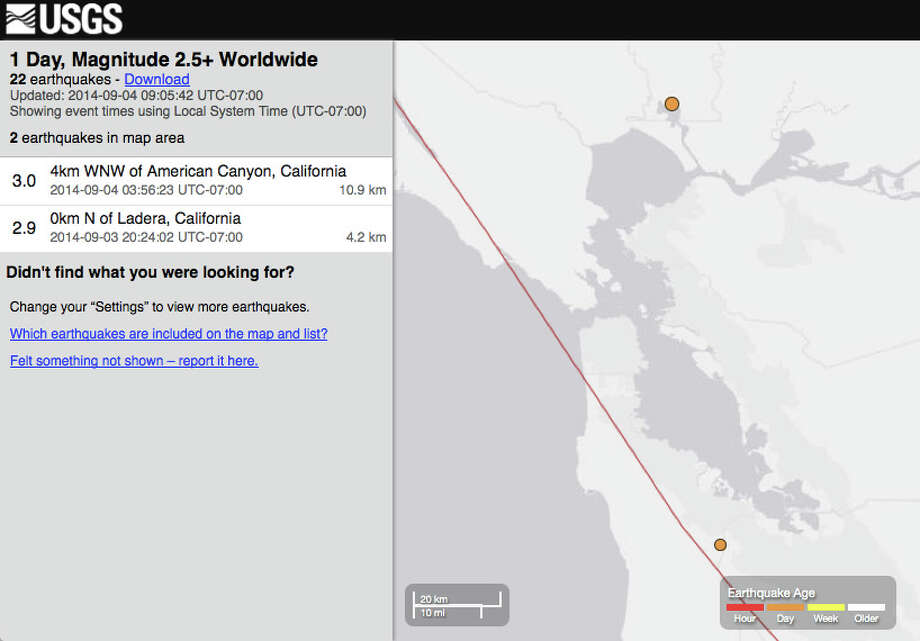 USGS map of earthquakes in the Bay Area in the past 24 hours. Photo: USGS